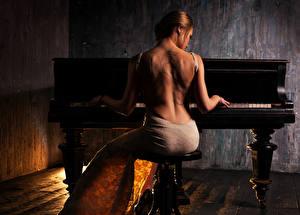 Fonds d'écran Blondeur Fille Piano Les robes Dos Tatouage Assis Filles
