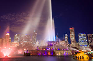 Images USA Fountains Houses Chicago city Night Water splash Buckingham fountain Cities