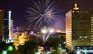 Pictures Moscow Russia Houses Roads Fireworks Evening  Cities