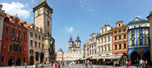 Picture Building Czech Republic Prague Towers Town square Street Cities