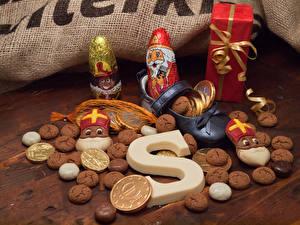Papéis de parede Feriados Ano-Novo Bolacha Chocolate Papai Noel Presentes Alimentos