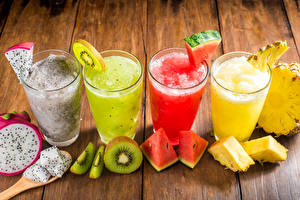 Pictures Drink Juice Fruit Kiwifruit Watermelons Pineapples Highball glass Food