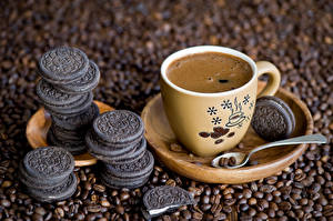 Bilder Kaffee Kekse Tasse Getreide Untertasse Löffel Lebensmittel