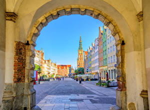 Image Poland Houses Gdańsk Street Arch Cities