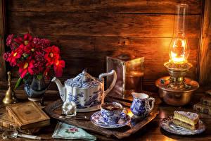 Image Still-life Kettle Bouquet Tea Little cakes Kerosene lamp Lamp Cup Food