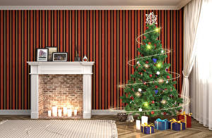Images New year Interior Design Christmas tree Fireplace Present Fairy lights Room 3D Graphics