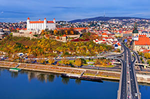 Pictures Slovakia Houses River Bridges Roads Autumn Bratislava Cities