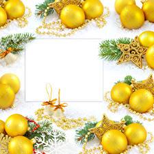 Bilder Feiertage Neujahr Schmuck Vorlage Grußkarte Kugeln Ast Glocke