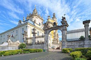 Pictures Ukraine Temples Lviv Fence Arch Cities