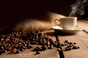 Fotos Kaffee Getreide Tasse Untertasse Bretter Dampf Lebensmittel