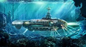 Wallpaper Submarines Steampunk Underwater world Painting Art Twenty Thousand Leagues Under the Sea nautilus submarine Fantasy