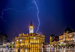 Wallpaper Houses Sky Serbia Street Night Street lights Lightning bolts Town square Novi Sad Cities