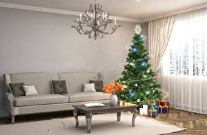Wallpaper Holidays New year Interior Design Lounge sitting room Couch New Year tree Gifts Chandelier Room 3D Graphics