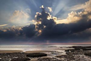 Fotos Vereinigtes Königreich Küste Himmel Wolke Lichtstrahl Horizont Wales Dunraven Bay Natur
