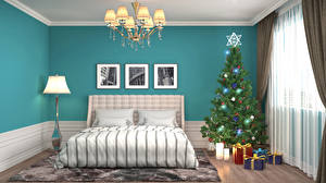 Photo Holidays Christmas Interior Design Bedroom Bed Christmas tree Chandelier Gifts Room 3D Graphics