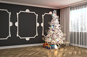 Pictures Holidays New year New Year tree Gifts Fairy lights Room Walls 3D Graphics