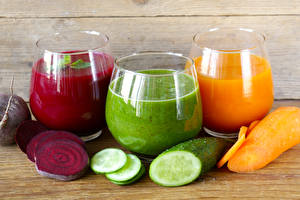 Pictures Juice Vegetables Cucumbers Carrots Highball glass Three 3 Food