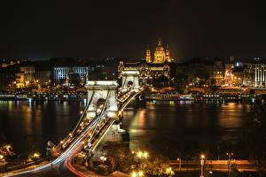 Hintergrundbilder Budapest Ungarn Gebäude Flusse Brücken Nacht Städte