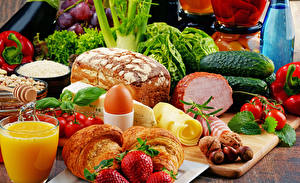 Photo Still-life Juice Vegetables Bread Ham Strawberry Croissant Cheese Egg Food