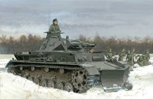 Photo Tank Painting Art Snow Pz.Kpfw. IV Ausf. B military