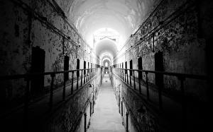 Wallpapers Prison Tunnel Hallway corridor Fence