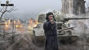 Fotos Panzer Soldaten World of Tanks Pistolen T-34 Russische T-34-85 Spiele