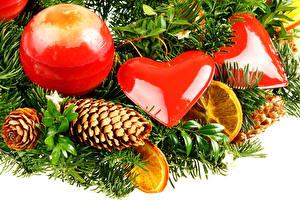 Hintergrundbilder Neujahr Feiertage Ast Kugeln Zapfen Herz