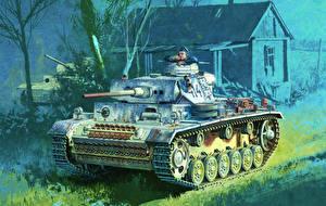 Images Tanks Painting Art German Panzerkampfwagen III Army