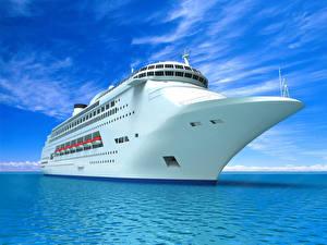 Bilder Schiff Kreuzfahrtschiff Meer Himmel