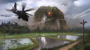 Bilder Ungeheuer Hubschrauber Acker Fantasy