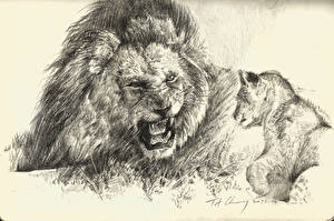 Pictures Big cats Lion Cubs Painting Art Roar Black and white Animals