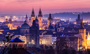 Image Prague Czech Republic Building Night Tower Cities