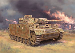 Picture Tanks Painting Art German Pz.Kpfw.III (Fl) Ausf.M w/Schurzen
