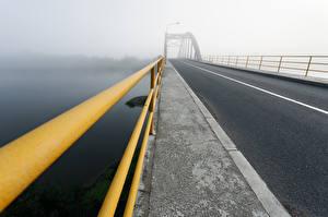 Photo Bridges Roads Fence Fog Cities