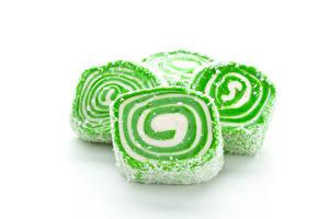Hintergrundbilder Süßigkeiten Turkish Delight Weißer hintergrund Tasty