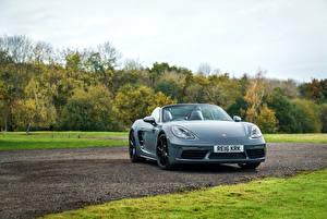 Обои Porsche Серый Кабриолет 2016 718 Boxster Автомобили