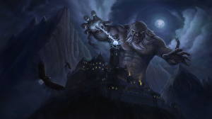 Bakgrundsbilder på skrivbordet Magi Borg Berg Örn Monster Jätte På natten Månen Kätting Fantasy