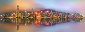 Fotos Hongkong China Haus Wolkenkratzer Flusse Küste Nacht Megalopolis Städte