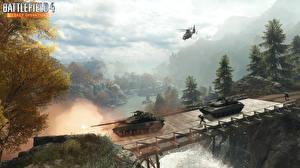 Bilder Battlefield 4 Panzer Brücken Hubschrauber computerspiel