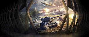 Hintergrundbilder World of Tanks World of Warplanes World Of Warship Panzer Schiffe Flugzeuge T-34 T-34-85 Spiele
