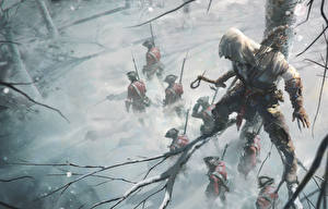 Pictures Assassin's Creed 3 Men Warriors Soldiers Winter Branches Games