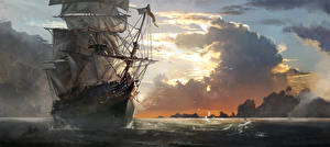 Picture Assassin's Creed 4 Black Flag Ships Sailing Assassin's Creed Clouds Games