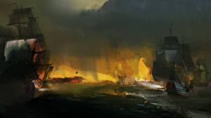 Wallpaper Assassin's Creed 3 Ship Sailing Battles Chesapeake