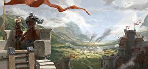 Bakgrundsbilder på skrivbordet Krigare Borg Fästning Albion Online, Castle Siege Datorspel Fantasy