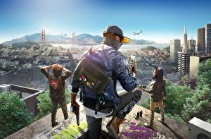 Bilder Mann Pistolen Haus USA Watch Dogs 2 Baseballcap San Francisco Telefon Jacke Marcus Holloway Spiele 3D-Grafik
