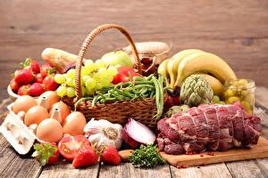 Photo Still-life Meat products Garlic Fruit Vegetables Bananas Grapes Egg Food