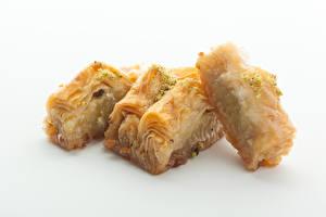 Bilder Süßware Lokum Weißer hintergrund Tasty