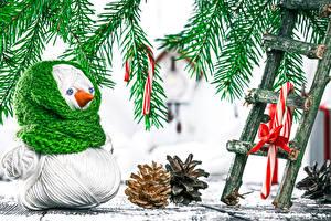 Fotos Feiertage Neujahr Schneemänner Zapfen Ast Treppe