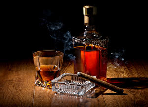Wallpaper Drinks Whiskey Shot glass Bottle Smoke Cigar