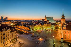 Fotos Polen Gebäude Denkmal Warschau Straße Platz Nacht Straßenlaterne
